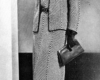 Vintage 1930s Dress Jacket Chevron Herringbone Stripe Knitting Pattern PDF 3208 30s size 16 Bust 34 S Small