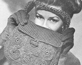 Vintage 1940s Merry Widow Crochet  Corde Handbag Pattern PDF 4506