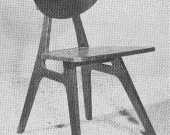1956 Modern Side Chair Plans Mid Century Atomic Design 1950s 50s Chair PDF Pattern DIY