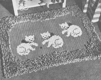 Vintage 1950s Kitty Cat Rug Pattern Crochet Loop Cross Stitch PDF 5101  Size 22 X 32 inch 50s floor covering mid century house