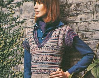 Vintage 1970s Jumper Sweater Knitting Pattern Vest Pullover Boho Paper Doll PDF 7506
