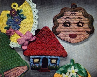 Vintage Pot Holders and Oven Mitts Crochet Pattern 16 Different Potholders E Book PDF 4003 EB106 Holiday Easter Bonnet Kitty Cat Scotty Dog