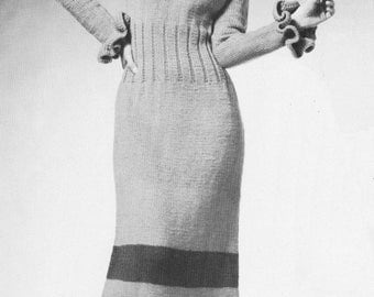 1970s Captivating Ruffled Maxi Dress Knitting Pattern PDF 7211