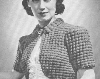 Vintage 1930s Jumper Sweater Pattern Art Deco Night and Day Crochet Bolero 30s Bust 34 Small PDF 3904