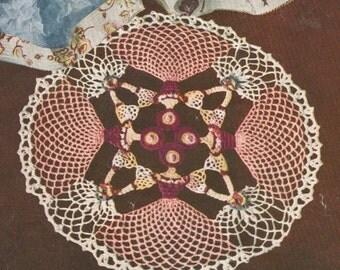 Vintage 1950s Pattern Cameo Girl Kaleidoscope Crochet Doily PDF 5013