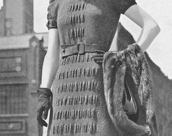 Vintage 1930s Shirred Afternoon Dress Knitting Pattern PDF 3925 30s Bust 34 Art Deco Dress Pattern