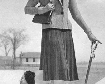Vintage 1930s Pattern Norfolk Jacket Suit Knitting PDF 3927 Bust 36 Size Medium Art Deco