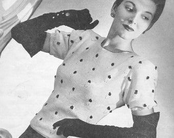 Vintage 1940s Beaded Evening Sweater Knitting Pattern PDF 4516