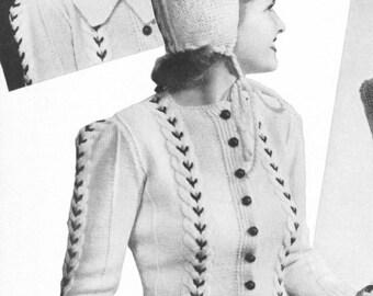 Vintage 1940s Playmates Sweater Hood Mittens Knitting Pattern PDF 4006
