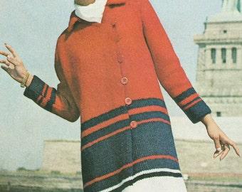 Vintage 1960s MOD Red White Blue Striped Coat Knitting pattern PDF 6905