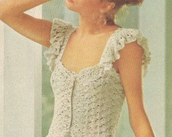 Vintage 1970s Camisole Boho Crochet with Ribbons and Ruffles Pattern PDF 7608 Bust 30 31 32 33 34 35 36 Size XS S M Extra Small Medium