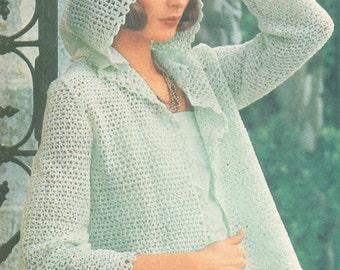 Vintage 1970s Jacket Pattern Boho Crochet Knot Stitch Hooded PDF 7611 Bust 32 33 34 35 36 37 38 Size Extra Small Medium Large
