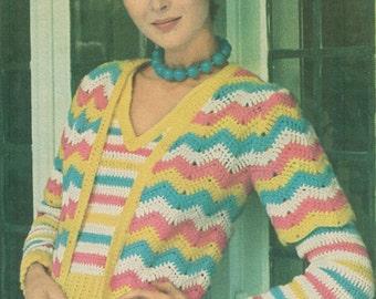 Vintage 1970s Crochet Ripple Chevron Twin Set Pattern PDF 7510