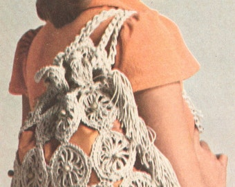 Vintage 1970s Boho Bag Crochet Crazy Daisy Beach Tote and Hat Pattern PDF 7512 Recyclable DIY