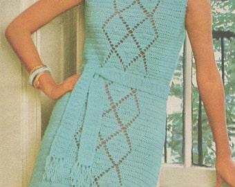 Vintage 1970s Dress Boho Crochet Lacy Panel Pattern PDF 7514 Size XS S M Extra Small Medium Bust 31 32 33 34 35 36