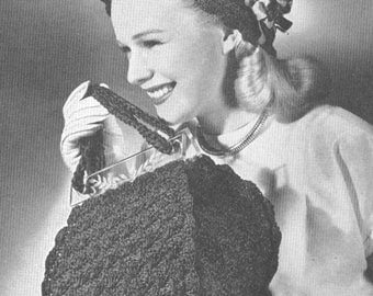 Vintage 1940s Crochet Gay Duet Hat and Bag Purse Pattern PDF 4610