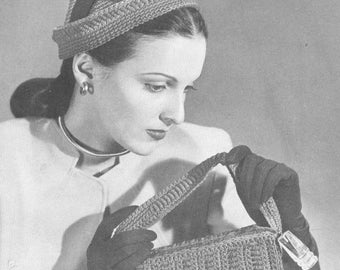 Vintage 1940s Crochet High Hat and Bag Purse Pattern PDF 4614