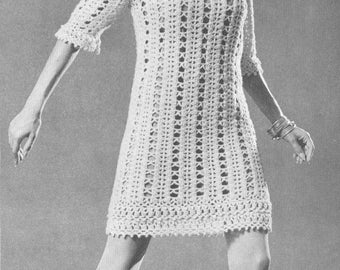 Vintage 1960s Boho Mini Dress Pattern PDF 6712 Crochet Lace Hippie 60s Bust 32 34 36 38 Size XS S M L Coachella Extra Small Medium Large
