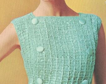 Vintage 1960s 2 Piece Dress with Half Belt Crochet Pattern PDF 6809