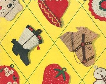 Vintage 1950s Crochet Pocket Potholders Pattern eBook PDF EB115