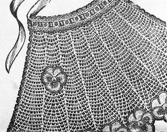 Vintage 1950s Crochet Tea Apron with Pansy Trim Pattern PDF 5017 Mid Century 50s Apron Pansies DIY