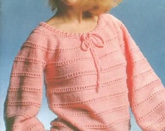 Vintage 1970s Drawstring Blouse Knitting Pattern Bust 40-50 PDF 7904