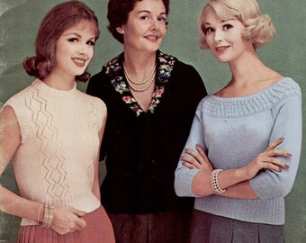 Vintage 1950s Sweaters Knitting Booklet 36 pages 10 patterns PDF EB118