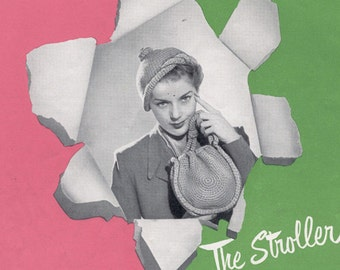 Vintage 1950s Stroller Hat and Bag Purse Crochet Pattern 50s PDF 5104