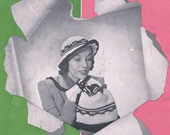 Vintage 1950s Vagabond Shoulder Strap Bag and Hat Crochet Pattern PDF 5103