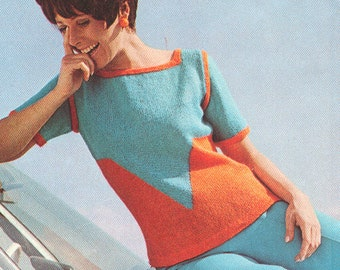 Vintage 1970s Chevron Pullover Knitting Pattern PDF 7016
