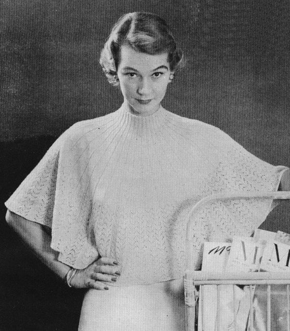 Knitting Pattern Circle Jacket : Vintage 1950s Circle Cape Jacket Lacy Trim Ribbed Collar