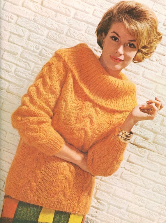 Old Knitting Patterns : Vintage 1960s Sweater Jumper Knitting Pattern Mohair Roll