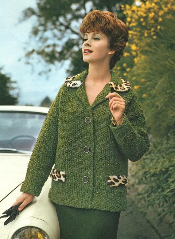 Fashionable Knitting Patterns : Vintage 1960s Fashion Fur Mad Men Jacket Knitting Pattern PDF