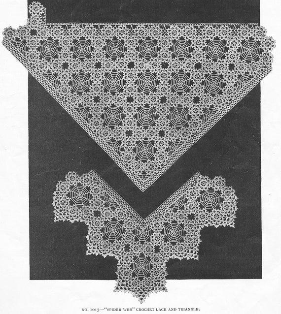 Antique 1916 Spiderweb Crochet Lace Pattern Spider Web Trim Unusual Victorian Edwardian Doily PDF 1602