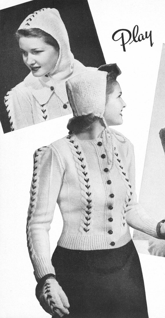Knitting Pattern For Cardigan With Hood : Vintage 1940s Playmates Sweater Hood Mittens by cemetarian ...