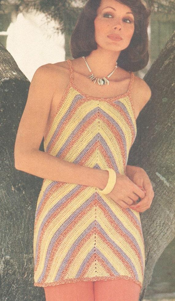 Vintage 1970s Crochet Chevron Tunic or Mini Dress Pattern PDF 7610