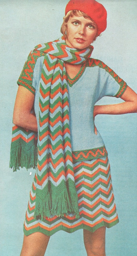 Aztec Knitting Pattern : Vintage 1970s Knit Chevron Skirt and Scarf Aztec Trim Top