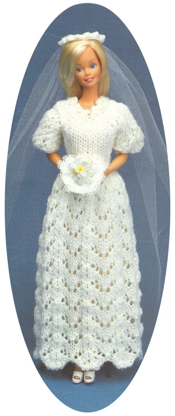 Vintage Barbie Wedding Dress And Veil Knitting Pattern Pdf