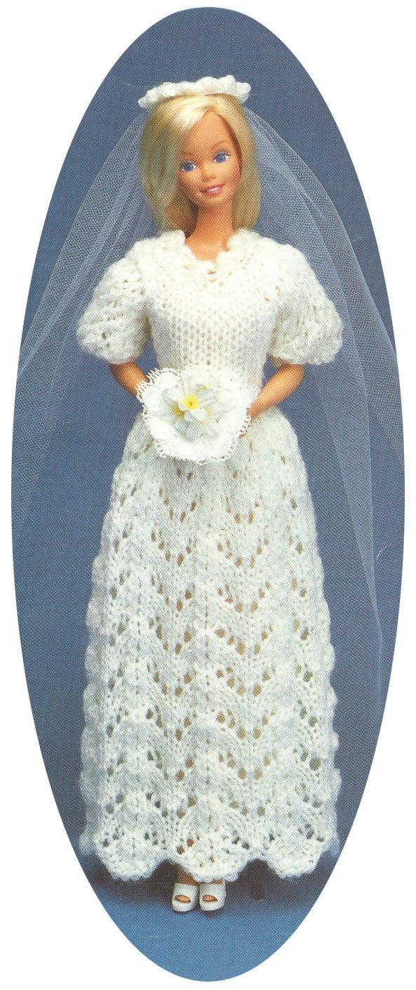 Vintage Barbie Wedding Dress And Veil Knitting Pattern Pdf