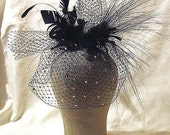 Black feathered crystal veil - wedding birdcage - black goth veil