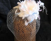 Bridal  ivory feather flower veil -  feather birdcage veil