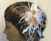 Champagne and ivory bridal feather clip and veil - birdcage veil and peacock clip - wedding feather hairclip