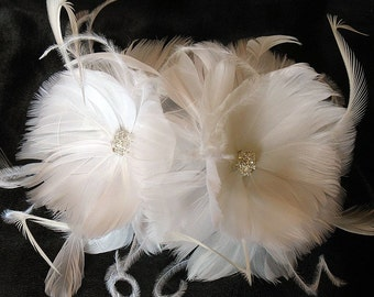 Feather flower pins