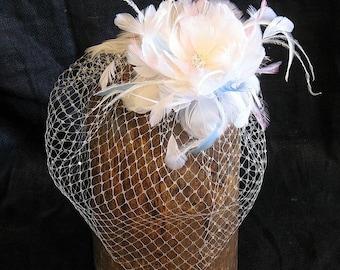 Bridal  ivory feather flower veil -  feather birdcage veil