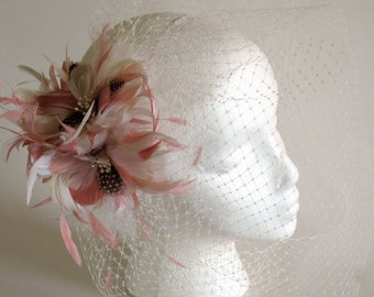 Blush bridal feather fascinator with full face veil - wedding feather birdcage