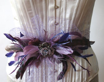 Plum feather and crystal jewel bridal brooch pin - purple wedding feather sash
