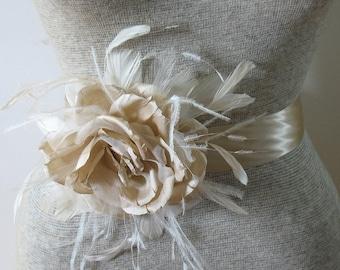 Champagne and ivory silk organza rose bridal sash