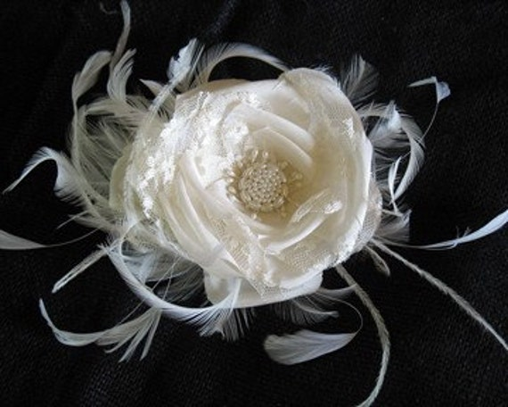 Ivory silk and lace rose
