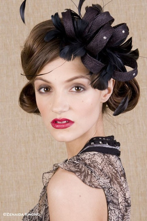 Black sinamay twists and feathers - black fascinator - black wedding headpiece