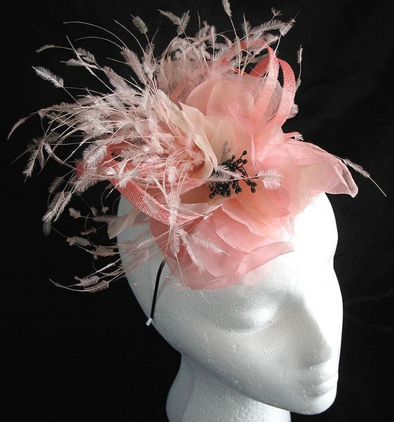 Pale pink sinamay cocktail hat  - bridal silk flower fascinator